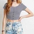 Mujeres Camiseta de Verano 2016 Mujeres Casual O-cuello Recortada Tops de Rayas de Manga Corta de Las Señoras Botón Frontal Delgada Camisa Corta Camiseta