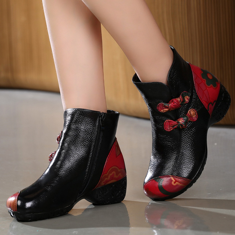 ФОТО National wind flower printing boots thick heels with boots winter round toe flower china embroidery mother cotton boots
