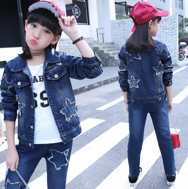 2 Pcs Girls Spring Jeans Clothing Sets Teen Girls Embroidered Jackets Denim Pants Outfits ensemble fille For 6 8 10 12 14 Years