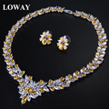 LOWAY White Flower Bridal Accessories Cubic Zirconia  Women Wedding Necklace Earrings Jewelry Set XL1895