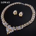 Loway flor branca acessórios de noiva cubic zirconia mulheres brincos colar de casamento set jóias xl1895