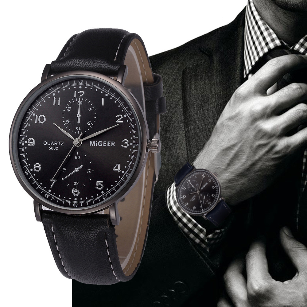 MIGEER Retro Design Leather Band Wrist Watches Mens Fashion Black Dial Business Style Analog Quartz Watch Relogio Masculino #LH fabulous 1pc new women watches retro design leather band simple design hot style analog alloy quartz wrist watch women relogio