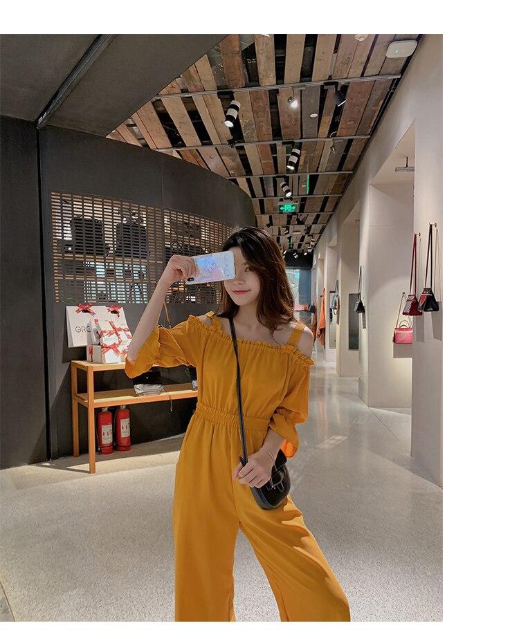 Women's Clothing 2019 Summer New Sexy Bohemian Style Spaghetti Strap Helf Sleeve High Waist Sling Long Beach Wide Leg Jumpsuit 13