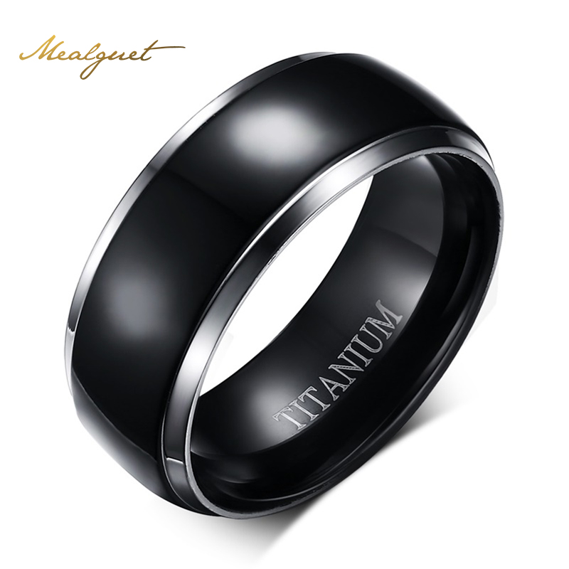 Meaeguet 100% Titanium Rings For Men Black Party Rings 8MM Wide Male's Finger Ring Jewelry