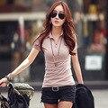 Plus Size S  L XL XXL  Fashion T Shirt Women short Sleeve Sexy  T-Shirt V neck design  Slim Novelty Tops  BTL025