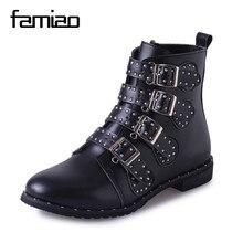 Famiao женские ботинки мотоциклетные ботинки 2017 Пряжка весна-осень с круглым носком обувь непромокаемые сапоги женские ботильоны botas mujer