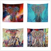 Elephant Tapestry Colored Printed Decorative Mandala Indian 130cmx150cm Boho Wall Carpet
