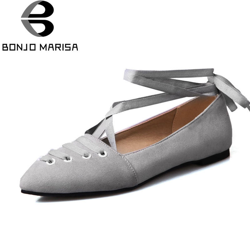 BONJNOMARISA 2018 Spring Summer Big Size 34-43 Shallow Ballet Flats Women Sweet lace-up Shoes Woman Low Heel Women Casual Shoes girls fashion punk shoes woman spring flats footwear lace up oxford women gold silver loafers boat shoes big size 35 43 s 18
