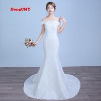 2017 New Arrival Long White Color Mermaid Bandage Wedding Dress