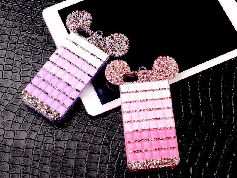 YESPURE Fancy Bling Berlian Mouse Ears Kasus Telepon Mewah untuk - Aksesori dan suku cadang ponsel - Foto 3