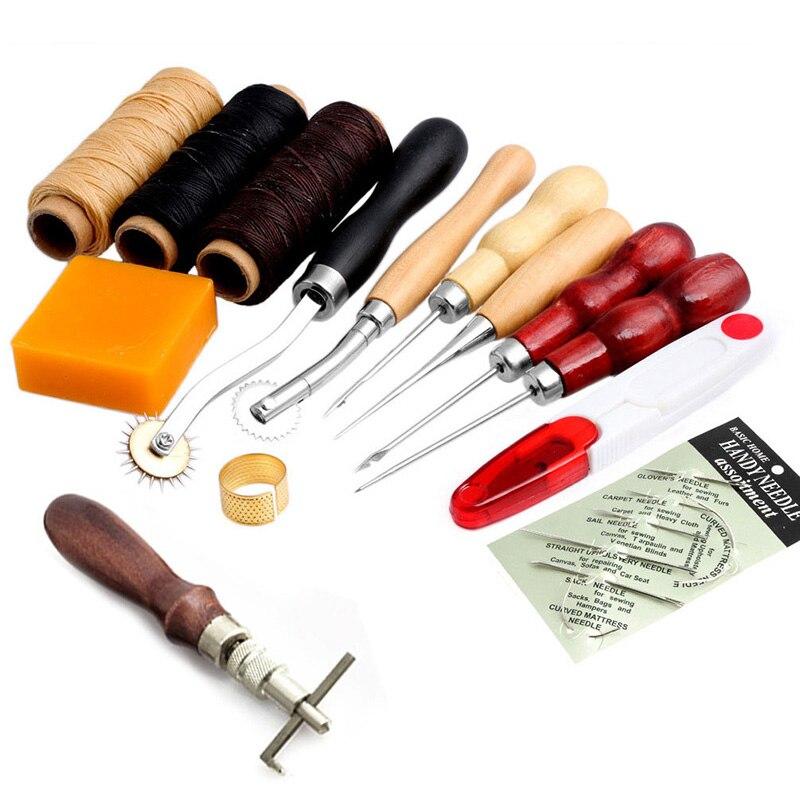 13 unids piezas de cuero artesanal mano costura herramienta de coser hilo Awl dedal encerado Kit