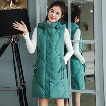 PinkyIsBlack 2019 Winter Long Sleeveless Vest Coats Women Hooded Down Cotton Padded Jacket Vests Korean Fashion Waistcoat