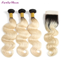 1B 613 Blonde Ombre Platinum Color 4x4 Lace Closure with 3/4 Bundles Peruvian Body Wave Wavy Human Hair Extensions Lynlyshan цена 2017