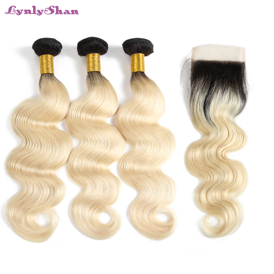 1B 613 Blonde <font><b>Ombre</b></font> Platinum Color 4x4 Lace <font><b>Closure</b></font> <font><b>with</b></font> 3/4 <font><b>Bundles</b></font> <font><b>Peruvian</b></font> <font><b>Body</b></font> <font><b>Wave</b></font> Wavy Human Hair Extensions Lynlyshan image