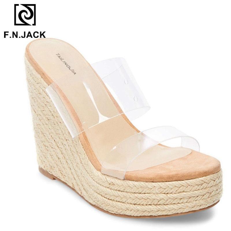 F. N. جاك 2019 عالية الكعب الأحذية النسائية الصيف صناديل للنساء الأزياء مفتوحة اصبع القدم النعال الإناث أسافين صندل-في شباشب من أحذية على  مجموعة 2