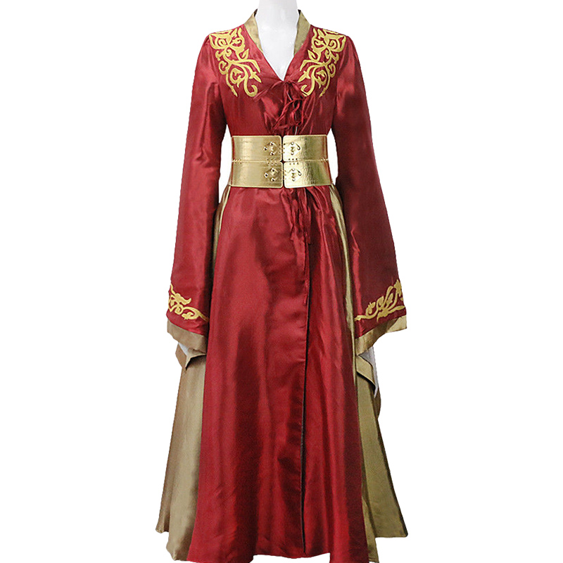 Game of Thrones Cosplay Cersei Lannister Costume Adult Women Queen Cersei Long Red Dress Halloween Carnival Costume