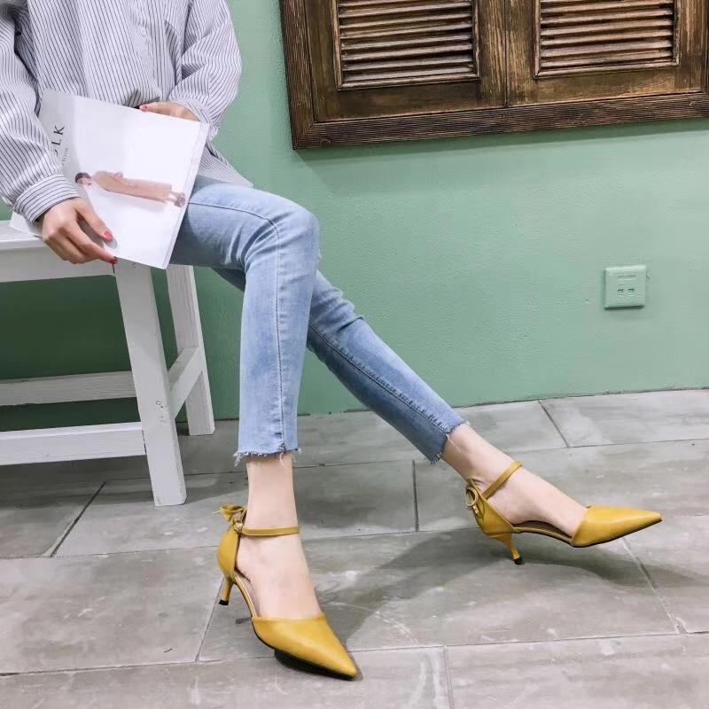 Pie Tacones Azul Tobillo Mujer Zapatos amarillo gris Mujeres Las Elegante Correa Tacón Sandalias Dedo De Del Calzado Puntiagudo Sexy F1qnwxv