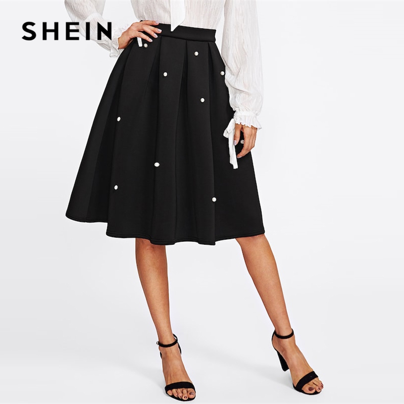 SHEIN Black Vintage Pearl Embellished Boxed Pleated Circle Knee Length Mid Waist Skirt Women Autumn Elegant Workwear Skirt