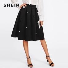 SHEIN Schwarz Vintage Perle Verschönert Boxed Falten Kreis Knielangen Mittlere Taille Rock Frauen Herbst Elegante Arbeitskleidung Rock