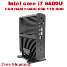 Mini pc core i7 6500u макс 3.1 ГГц 8 ГБ ram 256 ГБ ssd 1 ТБ hdd micro pc htpc intel hd graphics 520 tv box usb 3.0