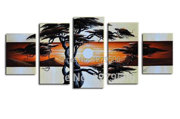 Unique Living Room Sets | 5 Pcs/set Hand-painted Pine Tree In The  Sunrise Oil Painting Wall Art Decoration On Canvas Paintings As Living Room Unique Gift