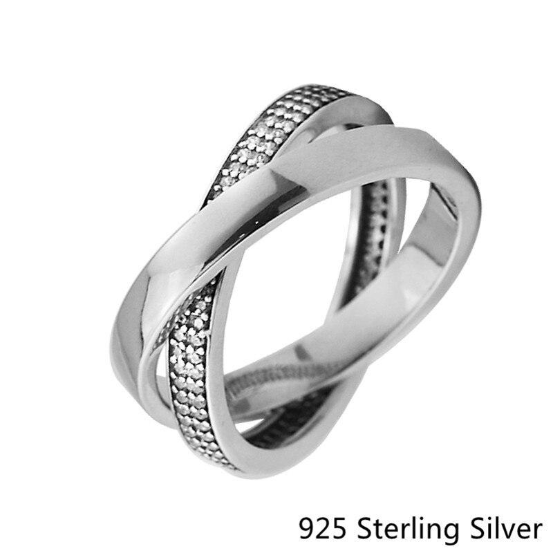 Аутентичные стерлингового серебра 925 Игристые обещание Шарм бициклическую Ясно CZ Fit для ювелирных изделий DIY Для женщин подарок