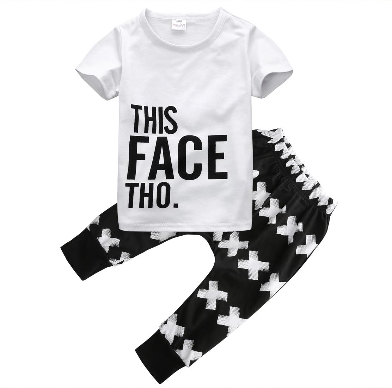 Helen115 Casual Kids Baby Boy Summer Short Sleeve T-shirt+Printed Pants 2pcs Set 0-5Years
