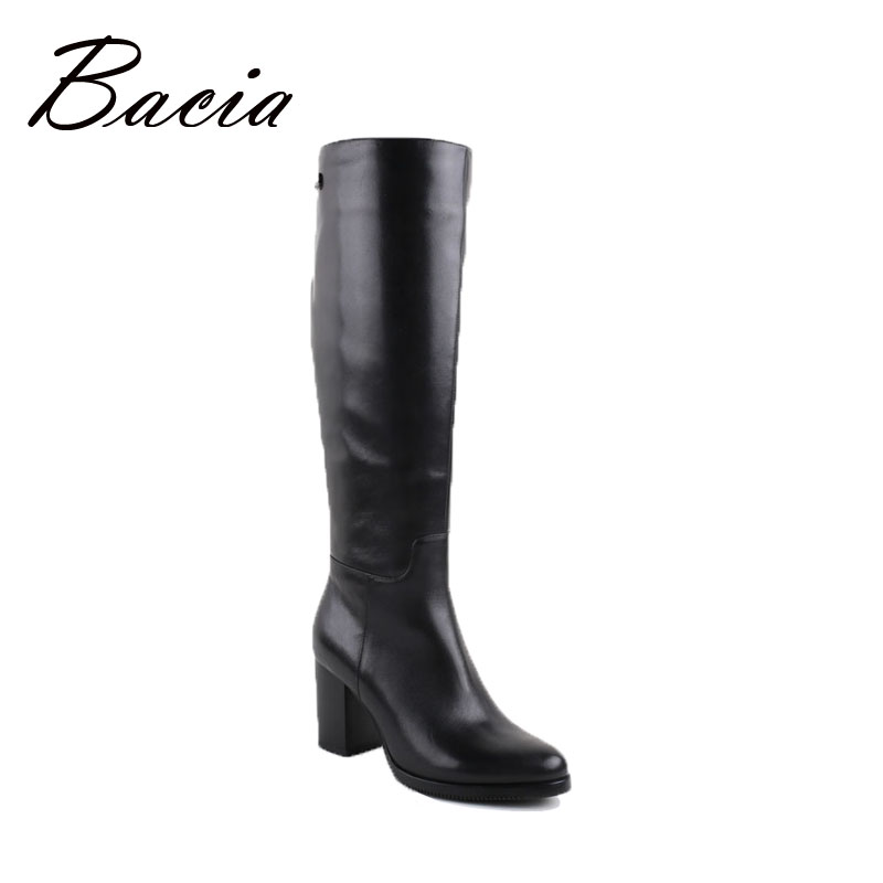 Bacia Winter Boots Warm Wool Fur Women Cow Leather Shoes Long Handmade Black Knee High Russia Boots Footwear Snow Botas VC002