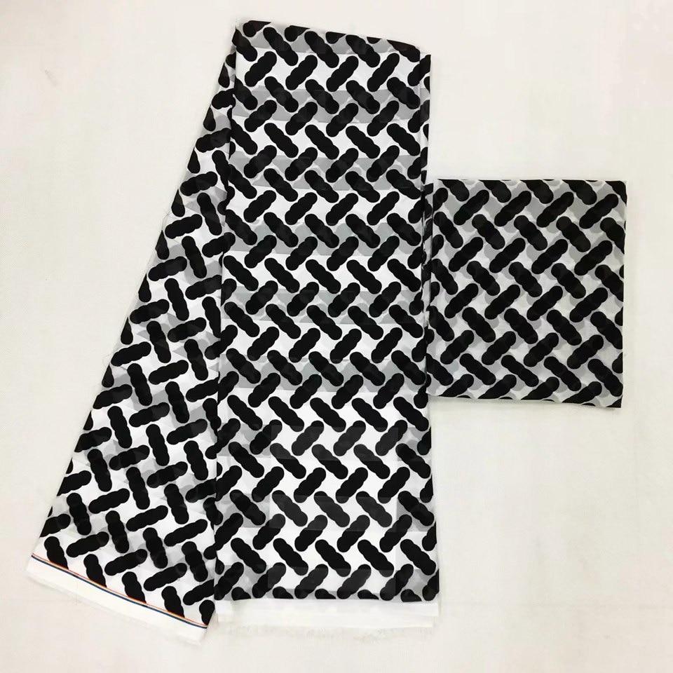 Tissu africain en soie imitée tissu nigérian en mousseline de soie et tissu audel, tissu audel de 4yards + tissu mousseline de 2yards pour coudre MOR-15
