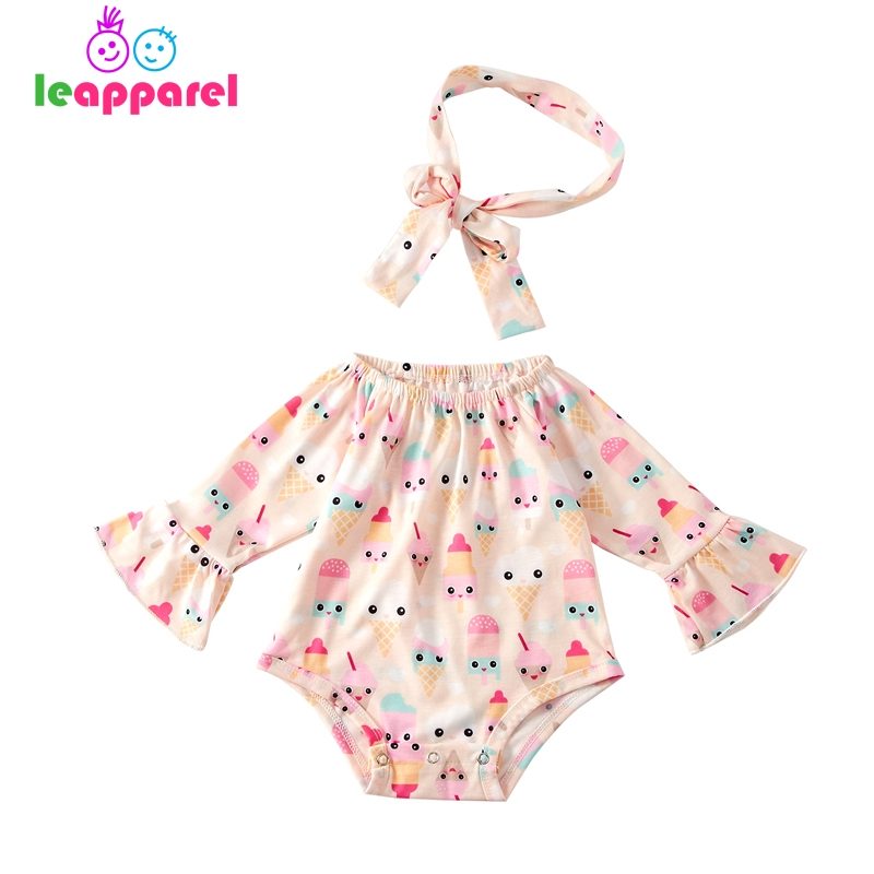 Cute Icecream Printed Newborn Bodysuits Baby Girl Flare Sleeve Off Shoulder Design Overalls+Headband 2 Pcs Suits Infant Outfit