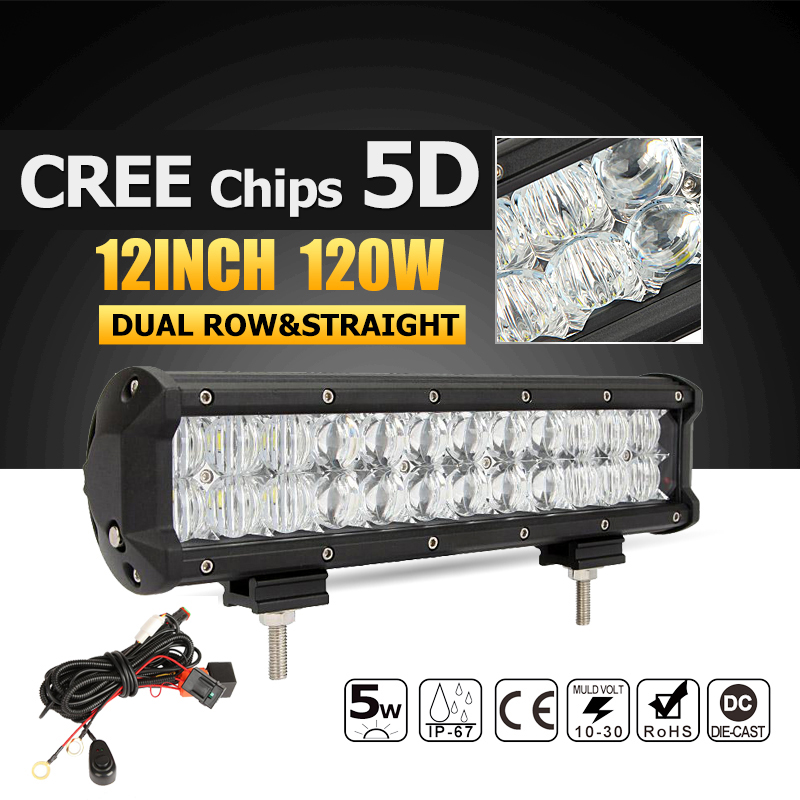 Oslamp 5D 120W 12inch CREE Chips Straight LED Light Bar Offroad Led Work Driving Light Bar Combo Beam 12v 24v Truck SUV ATV 4x4  oslamp 7d 120w 12 led work light bar cree chips led bar offroad spot flood truck suv atv 4x4 4wd driving 12v 24v led bar lights