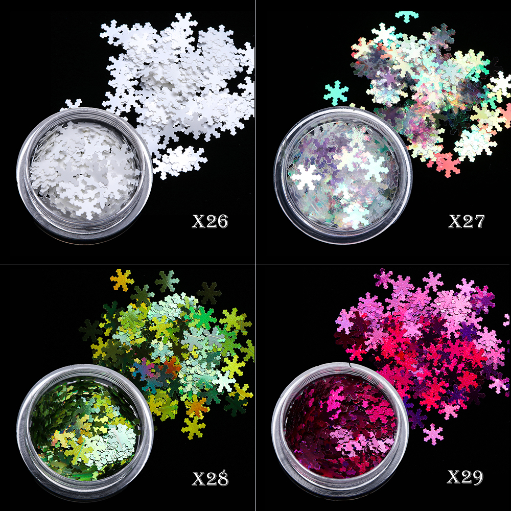 Image 5 - 1 Box Christmas Nail Sequins Glitter 3D Nail Art Glitter Gel Holographic Laser Snowflakes AB Silver Manicure Decoration TRX1 30-in Nail Glitter from Beauty & Health