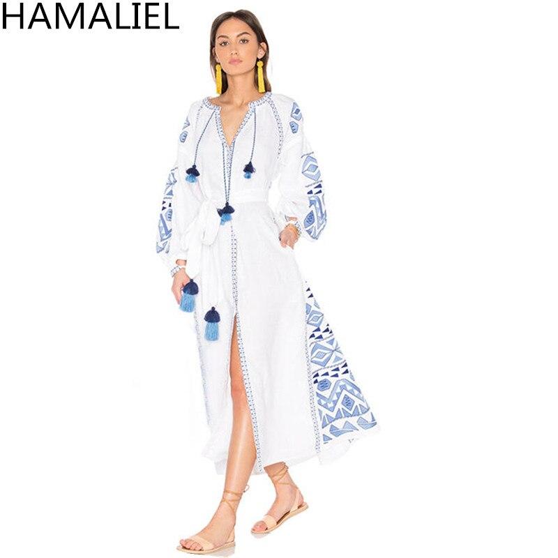 Piste Boho D'été Femmes Robe 2018 Style Ethnique Blanc Broderie Lanterne Manches Des Ceintures Femme Coton Maxi Long Beach Robe