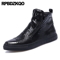 patent leather high top faux fur fashion designer shoes men quality metalic snakeskin crocodile black sneakers booties boots