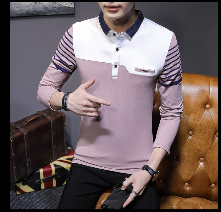Business Casual Long Sleeve Men Polo Shirt Striped Autumn Winter Polos Cotton Slim Fit Camisa Polo Masculina 82