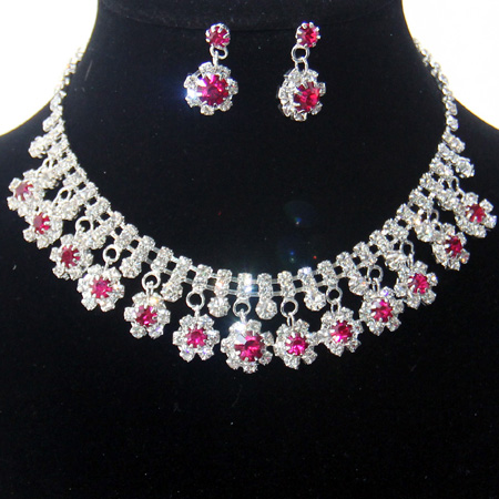 fashion rhinestone necklace earrings silver plated costume bridal jewelry wholesale charm crystal wedding jewelry sets for