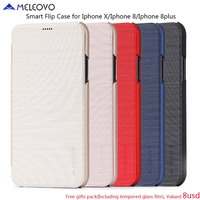 Original Meleovo Brand Luxury Retro Ultra Thin Flip Book Leather Cover For IPhone X Slim Hard