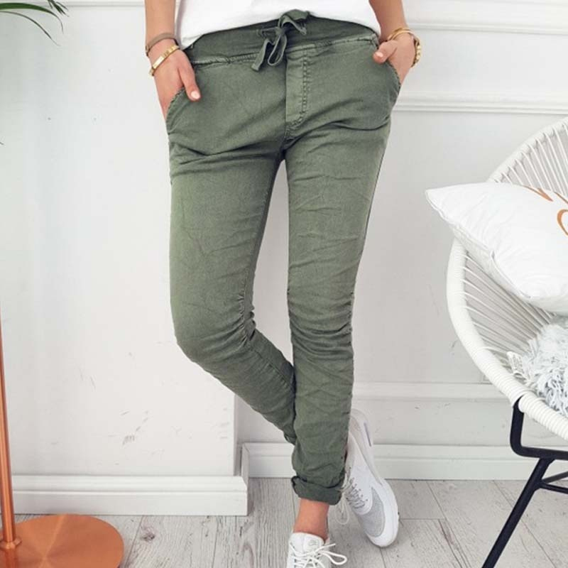 Autumn Casual Black Gray Elastic Pencil Pants 2018 Spring Fall Stretch Pants For Women Skinny Slim Ladies Pocket Trousers Female