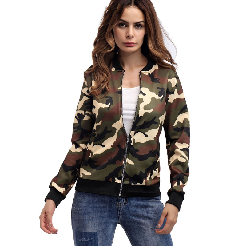 ROPALIA Autumn Long Sleeve Women   Jackets   Fashion Stand Collar Coat Women Camouflage   Jackets   Coats Casual   Basic   Clothes