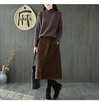 SKIRTS Women's corduroy half elastic waist oblique pockets forked hem retro wild warm female skirt 3810