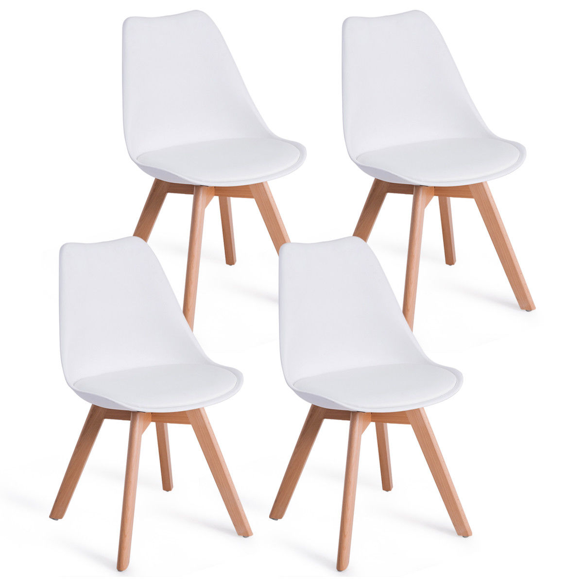 Giantex Set Of 4pcs Mid Century Modern Style Dining Side Chair Upholstered Seat Wood Legs White Dining Chairs HW57081 mid century presidential solid oak wood dining chair armchair upholstery seat dining room furniture modern arm chair for home