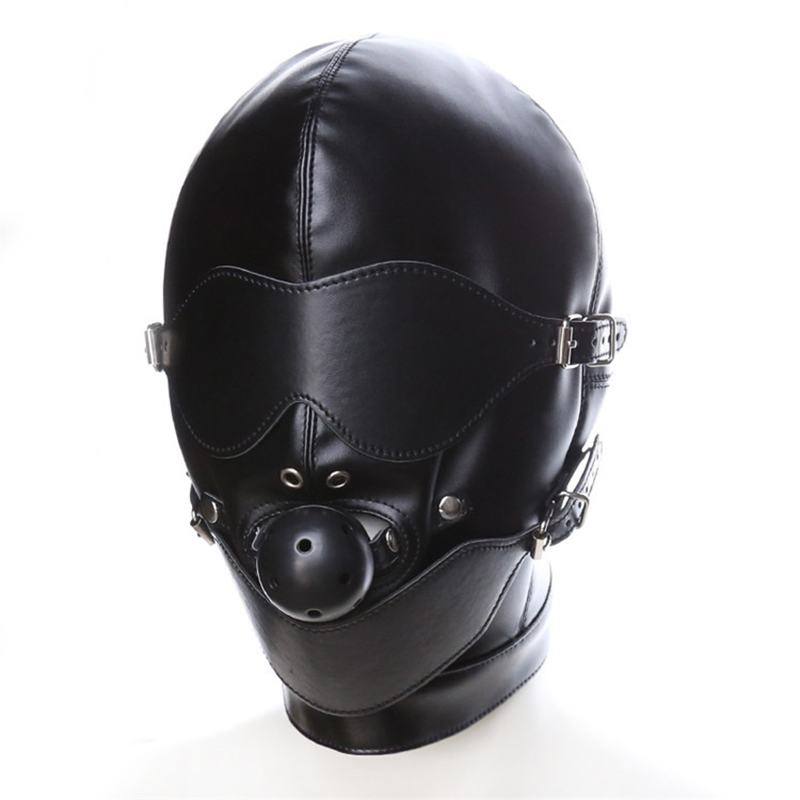 Sexy Porn Mask games head Black Piece Fun Slave Toys for Woman Man Open Mouth BDSM Bondage Kinky Couples Hollow Masks Sex image