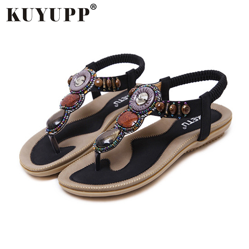 KUYUPP Bohemian Style Women Sandals summer Beach shoes flat with Sandal Flip Flops student shoes Sandals women YDT01 free shipping summer shoes women sandals beaded bohemian flip flops sandals beach shoes for women