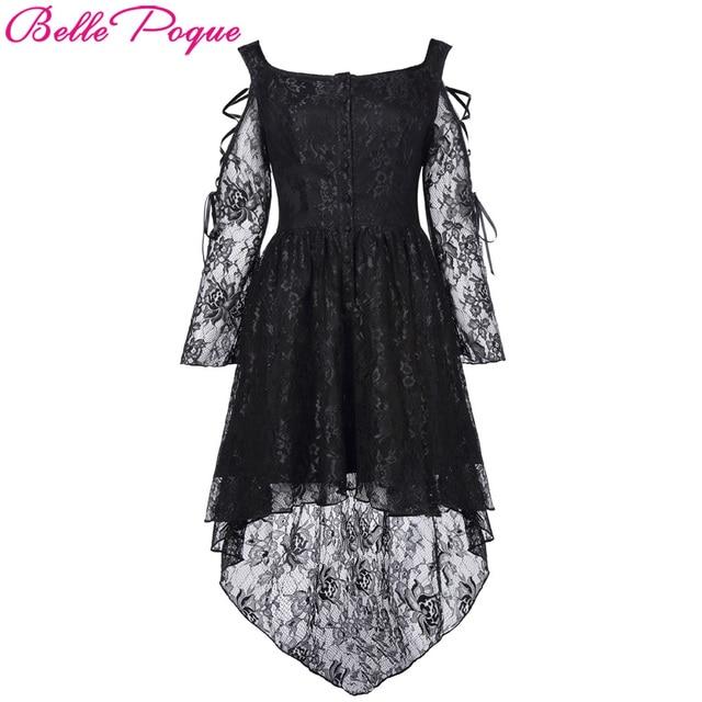 Belle Poque Frauen Sommerkleid 2018 Retro Vintage Viktorianischen Gothic  Punk Kleid Langarm Casual High-Low 001adb8144