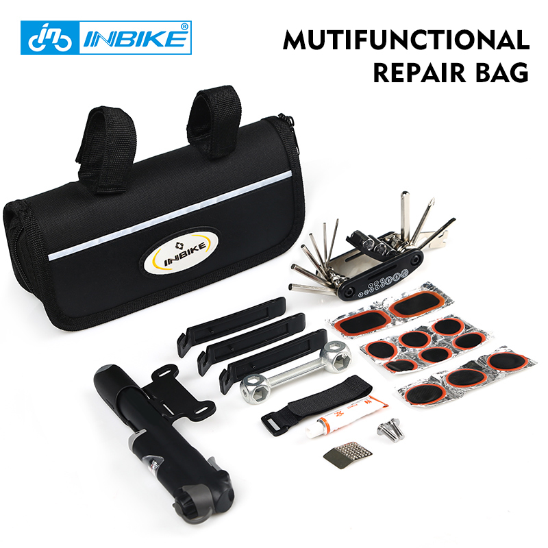 INBIKE Portable Bike Repair Tool Bag 1 Set MTB Road Bicycle Cycling Multifunctional Tire Repair Kit Tool Ferramentas Sets Bag