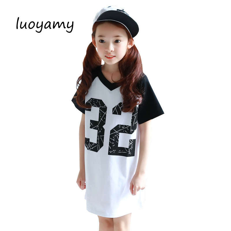 luoyamy New Summer Girls School Sport Dress V-neck Letter Printed Dress Kids  Cotton Gowns 474034e72488