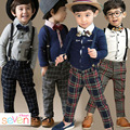 Olekid 2017 muchachos de la manera ropa bowknot de la tela escocesa de los niños camisa de la ropa + tie + overalls 3 unids boy juegos del otoño del resorte ropa de los muchachos