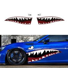 59 Full Size Red Grey Shark Mouth Tooth Teeth Reflective Car Sticker Vinyl Auto Cool Refiting Exterior Decal For Side Door