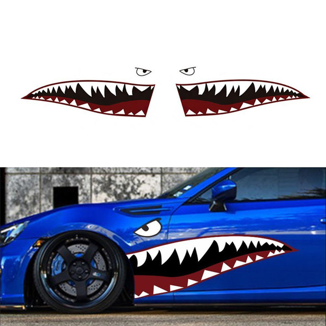 Us 2845 59 Full Size Red Grey Shark Mouth Tooth Teeth Reflective Car Sticker Vinyl Auto Car Cool Refiting Exterior Decal For Side Door In Car
