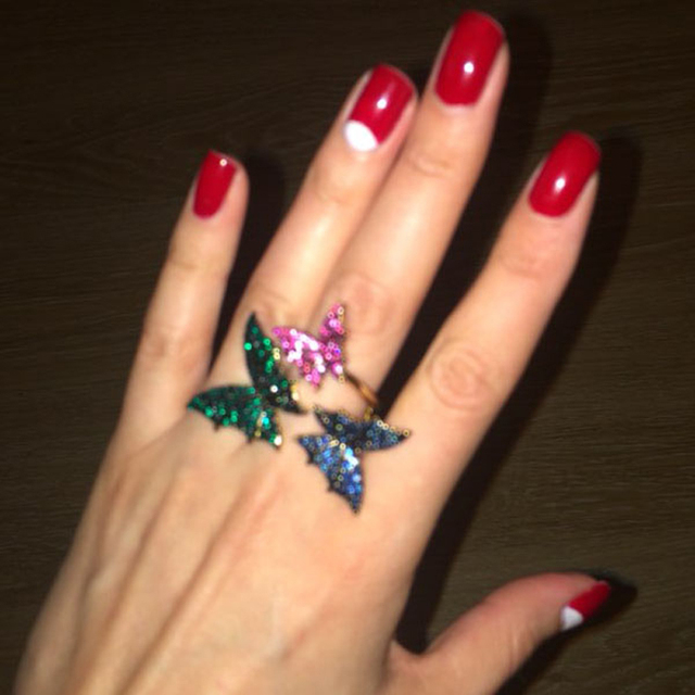 Купить классические кольца с кристаллами бабочками для вечеринок 2019